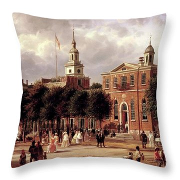 Throw Pillow featuring the painting Independence Hall by Ferdinand Richardt