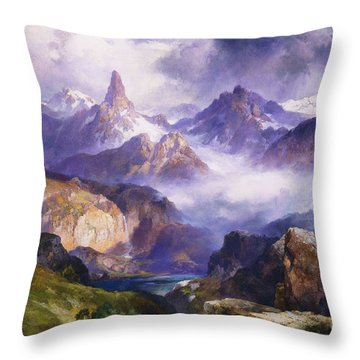 Index Peak Yellowstone National Park Throw Pillow by Thomas Moran
