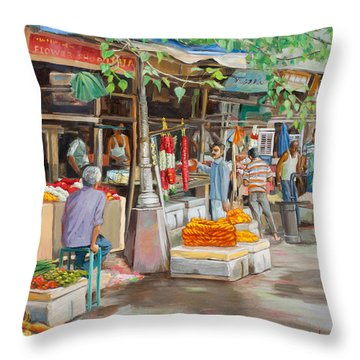 India Flower Market Street Throw Pillow by Dominique Amendola