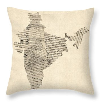 India Map, Old Sheet Music Map Of India Throw Pillow