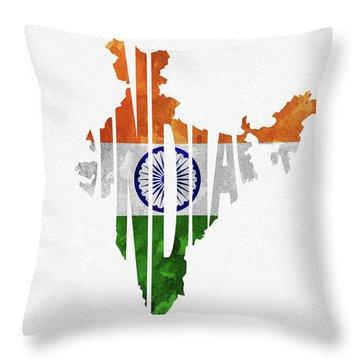 India Typographic Map Flag Throw Pillow