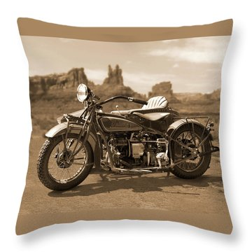 Indian 4 Sidecar Throw Pillow by Mike McGlothlen