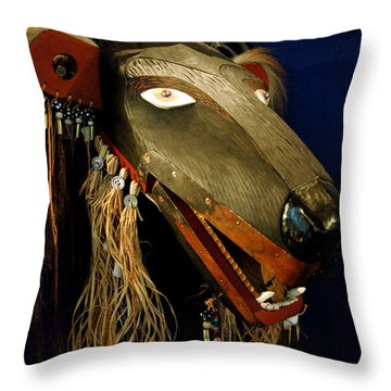 Indian Animal Mask Throw Pillow by LeeAnn McLaneGoetz McLaneGoetzStudioLLCcom