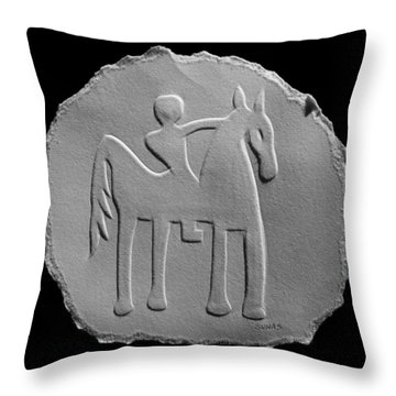 Throw Pillow featuring the relief Indian Art - Horse Rider by Suhas Tavkar