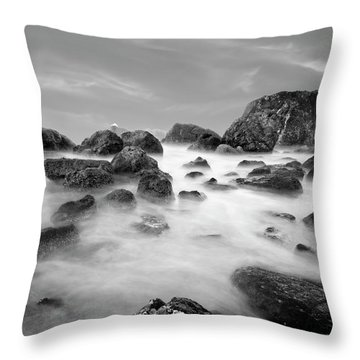 Indian Beach, Ecola State Park, Oregon, In Black And White Throw Pillow