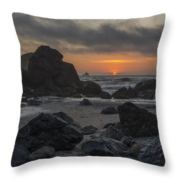 Indian Beach Sunset Throw Pillow