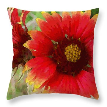 Indian Blanket Flowers Throw Pillow