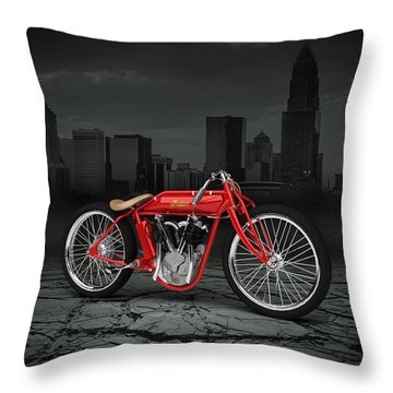 Indian Board Track Racer 1920 City Throw Pillow