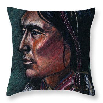 Indian Brave Throw Pillow by John Keaton