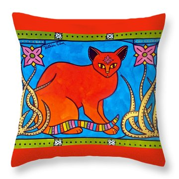 Indian Cat With Lilies Throw Pillow