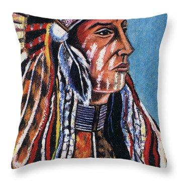 Indian Chief Throw Pillow by John Keaton