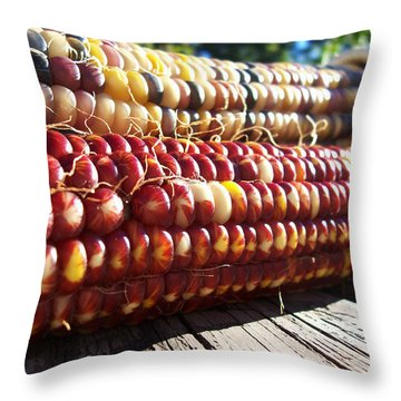 Throw Pillow featuring the photograph Indian Corn On The Cob by Shawna Rowe