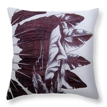 Indian Feathers Throw Pillow