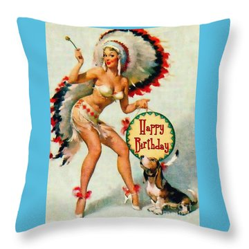 Indian Girl - Birthday Celebration Throw Pillow