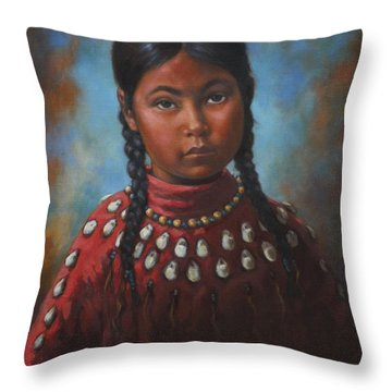 Indian Girl Throw Pillow by Harvie Brown