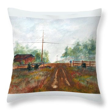 Throw Pillow featuring the painting Indian Hills by Andrew Gillette