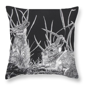 Indian Ink Rabbits Throw Pillow by Kevin F Heuman