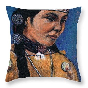 Indian Maiden Throw Pillow by John Keaton