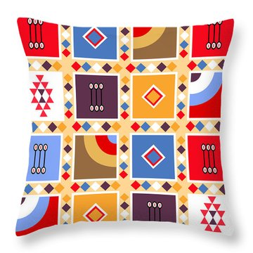 Indian Mexico Pattern On The Carpet Throw Pillow
