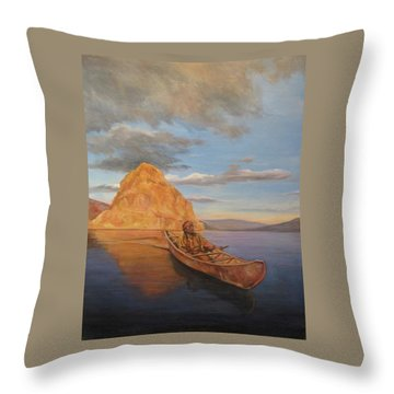 Indian On Lake Pyramid Throw Pillow