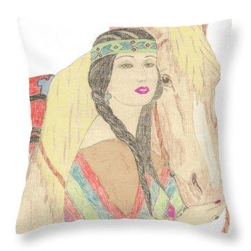 Indian Princess At Fair Throw Pillow