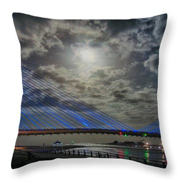 Indian River Bridge Moonlight Panorama Throw Pillow