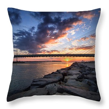 Indian River Inlet And Bay Sunset Throw Pillow