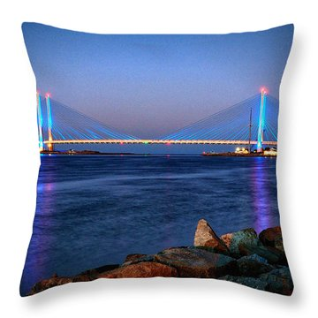 Indian River Inlet Bridge Twilight Throw Pillow