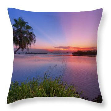 Indian River State Park Bursting Sunset Throw Pillow by Justin Kelefas