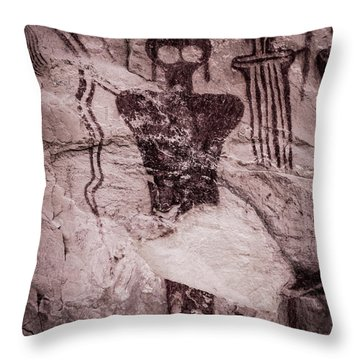 Indian Shaman Rock Art Throw Pillow by Gary Whitton