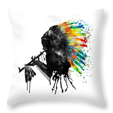 Indian Silhouette With Colorful Headdress Throw Pillow by Marian Voicu