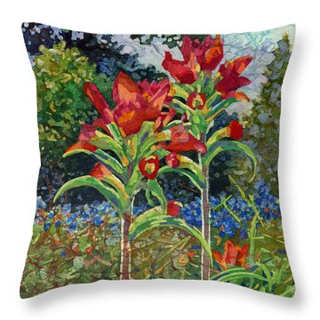 Throw Pillow featuring the painting Indian Spring by Hailey E Herrera