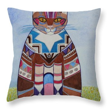Indian Squirrel Cat Throw Pillow