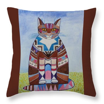 Indian Squirrel Cat Throw Pillow