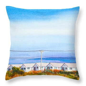 Indian Summer Days Cottages North Truro Massachusetts Watercolor Painting Throw Pillow