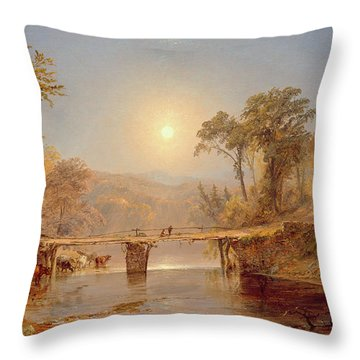 Indian Summer On The Delaware River Throw Pillow by Jasper Francis Cropsey