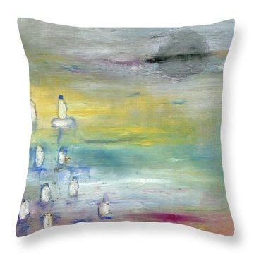Throw Pillow featuring the painting Indian Summer Over The Pond by Michal Mitak Mahgerefteh