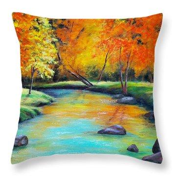 Indian Summer Throw Pillow by Susan DeLain