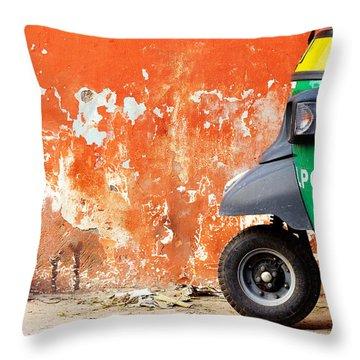 Indian Tuk Tuk Throw Pillow