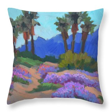 Throw Pillow featuring the painting Indian Wells Verbena by Diane McClary