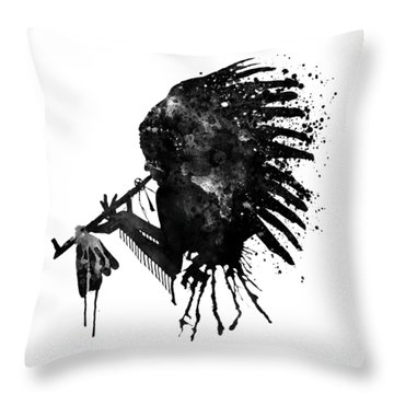 Throw Pillow featuring the mixed media Indian With Headdress Black And White Silhouette by Marian Voicu