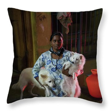 Throw Pillow featuring the photograph Indian Woman And Her Dogs by Mike Reid