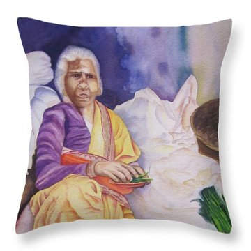 Throw Pillow featuring the painting Indian Woman At Market IIi by Teresa Beyer