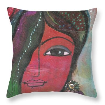 Indian Woman Rajasthani Colorful Throw Pillow