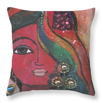 Indian Woman With Flowers  Throw Pillow