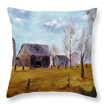 Indiana Farm Throw Pillow by Larry Hamilton