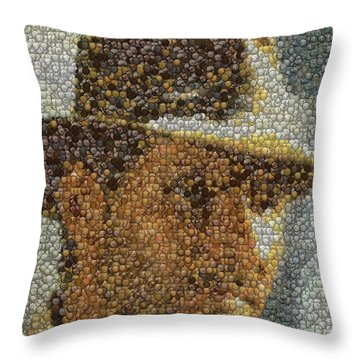 Throw Pillow featuring the mixed media Indiana Jones Treasure Coins Mosaic by Paul Van Scott