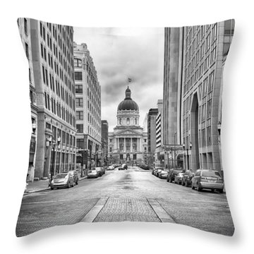 Indiana State Capitol Building Throw Pillow by Howard Salmon