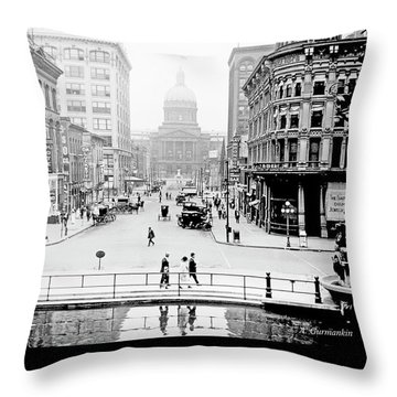 Indianapolis, Indiana, Downtown Area, C. 1915, Vintage Photograp Throw Pillow
