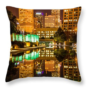 Indianapolis Skyline At Night Canal Reflection Picture Throw Pillow by Paul Velgos